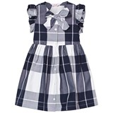Il Gufo Navy Check Frill Sleeve Dress with Bow Front