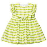 Il Gufo Yellow Stripe Silk Seersucker Frill and Bow Dress