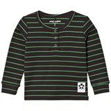 Mini Rodini Black and Green  Ribbed Stripe Grandpa Top