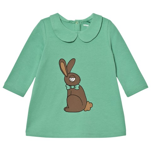 Mini Rodini Green Rabbit Print Collar Dress