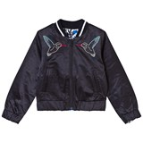 IKKS Reversible Navy Bird Embroidered and Blue Floral Bomber Jacket
