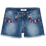 MSGM Embroidered and Beaded Denim Shorts