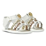 Michael Kors White Zia Baby Teza Metallic Strap Sandals