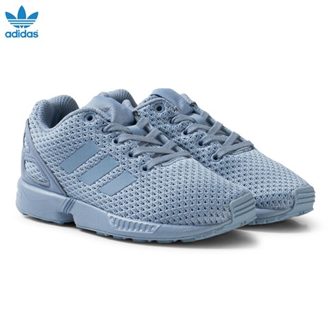 Blue Grey ZX Flux Kids Trainers