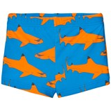 Gardner and The Gang Blue and Orange Shark Print Swim Trunks