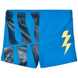 Gardner and The Gang Blue Lightning Bolt and Wave Print Swim Trunks