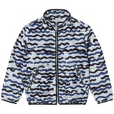 Burberry White and Navy Charlton Wave Print Blouson Jacket