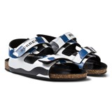 Burberry Navy and White Wave Print Rangor Sandals