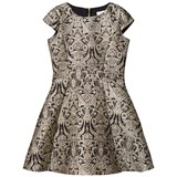 David Charles Black and Gold Embroidered Dress