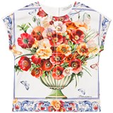 Dolce & Gabbana White and Pink Floral Print Top