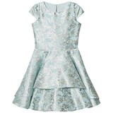 David Charles Aqua and Gold Brocade Dress