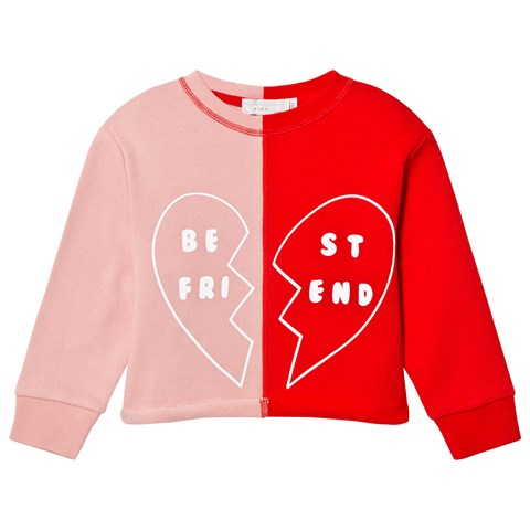 Stella McCartney Kids Pink and Red Best Friends Sweatshirt