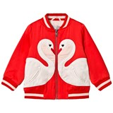 Stella McCartney Kids Red Swan Applique Bomber Jacket