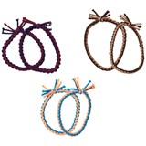 Molo (Pack of 6) Blue, Red and Brown Plaited Hair Elastics