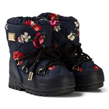 Dolce & Gabbana Navy Flower Print Snow Boots with Branded Plaque