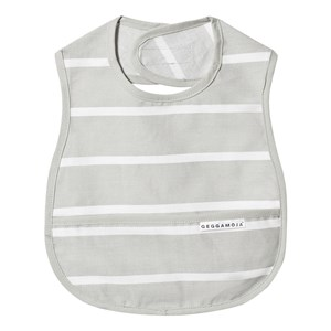 GEGGAMOJA | Geggamoja Grey and White Stripe Bib One Size | Goxip