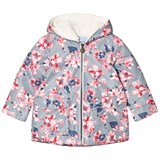 Joules Grey Floral Padded Waterproof Raincoat with Fleece Lining