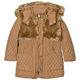 Chloé Tan Longline Quilted Coat with Faux Fur Trim