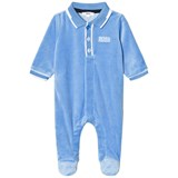 BOSS Blue Velour Branded Babygrow in Giftbox