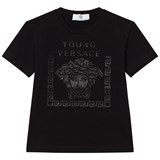 Young Versace Black Rubberised Medusa Print Tee