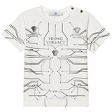 Young Versace White Branded Circuit Print Tee