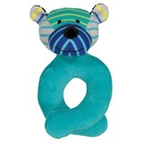 Geggamoja Blue Stripe Soft Bear Rattle
