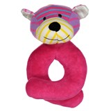 Geggamoja Pink Stripe Soft Bear Rattle