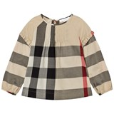 Burberry Beige Check Aggy Frill Sleeve Blouse