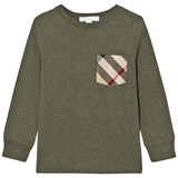 Burberry Khaki Green Long Sleeve Tee with Check Pocket