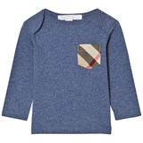 Burberry Slate Blue Long Sleeve Tee with Check Pocket