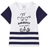 Burberry Whiite and Navy Mini Beard Face Tee