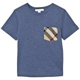 Burberry Slate Blue Tee with Check Pocket