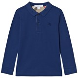 Burberry Marine Blue Long Sleeve Pique Polo