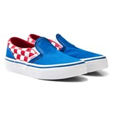 Vans Blue and Red Checkerboard Classic Slip Ons