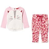 Joules Pink Cat Face Tee and Floral Leggings Set