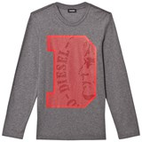 Diesel Grey D Logo Slim Knit T Shirt