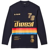 Diesel Navy Diesel Rainbow Stripe Long Sleeve Knit T Shirt