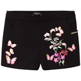Guess Black Floral Embroidered Shorts