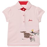 Joules Pink Pique Polo with Walking Dogs Applique