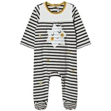 Catimini Cream and Navy Stripe and Star Print Babygrow