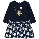 Catimini Navy Girl and Star Jersey and Woven Skirt Dress