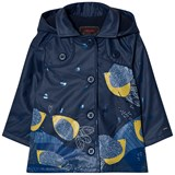 Catimini Navy Leaf and Glitter Print Raincoat