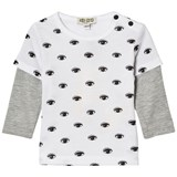 Kenzo Kids White Eye Print Mock Layer T-Shirt