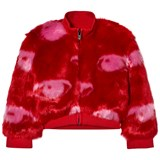 Kenzo Kids Red Eye Print Faux Fur Bomber Jacket