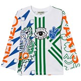 Kenzo Kids White All Over Icons Print Long Sleeve Tee