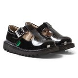 Kickers Black T-Bar Patent Buckle School Shoes