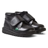 Kickers Black Velcro Hi-Top Leather School Shoes