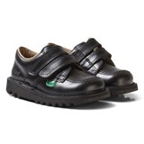 Kickers Black Velcro Kick Lo School Shoes