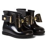 Mini Melissa Black and Gold Glitter Bow Welly Boots