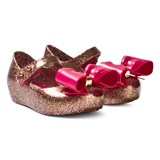 Mini Melissa Pink and Gold Glitter Bow Shoes